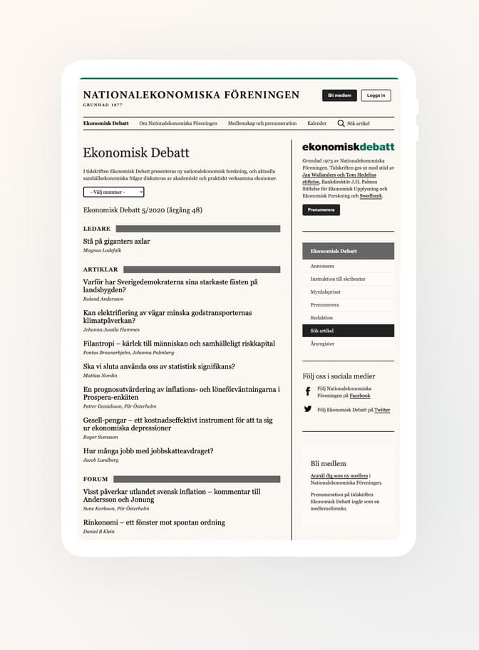 Nationalekonomiska Föreningen iPad